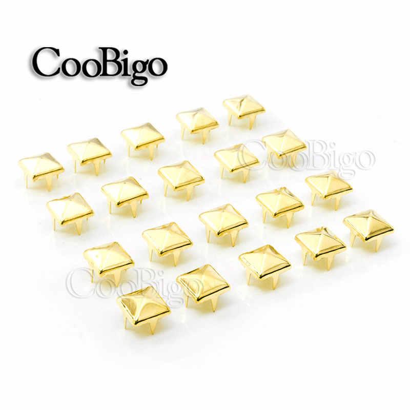 100 piezas., 8mm, tachuelas de pirámide, remaches, puntas de clavos, Punk Rock, pulseras DIY, bolsos, zapatos, accesorios de ropa