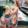 DoreenBow HIGH QUALITY Summer Sexy Beach Style Flower Printed Asymmetry Dress Cute Straps Women Fashion Dress