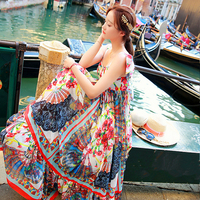 DoreenBow HIGH QUALITY Summer Sexy Beach Style Flower Printed Asymmetry Dress Cute Straps Women Fashion Dress