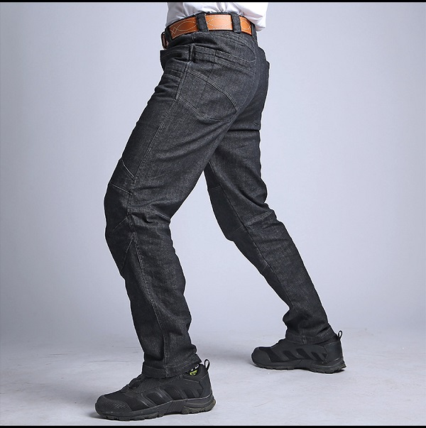 Urban Military Cargo Jeans Men Casual Multi Pocket Stretch Tactical Pants Motorcycle Trouser Slim Fit Denim