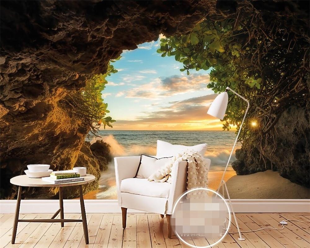 Wall Mural Photo Wallpaper: Beibehang Modern Fashion Cave Outside The Sea Beach 3d 3d