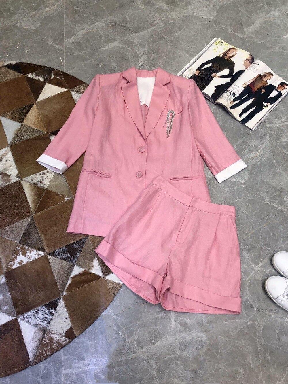 2019 ladies fashion suit hit color short sleeved blazer shorts suit 0418