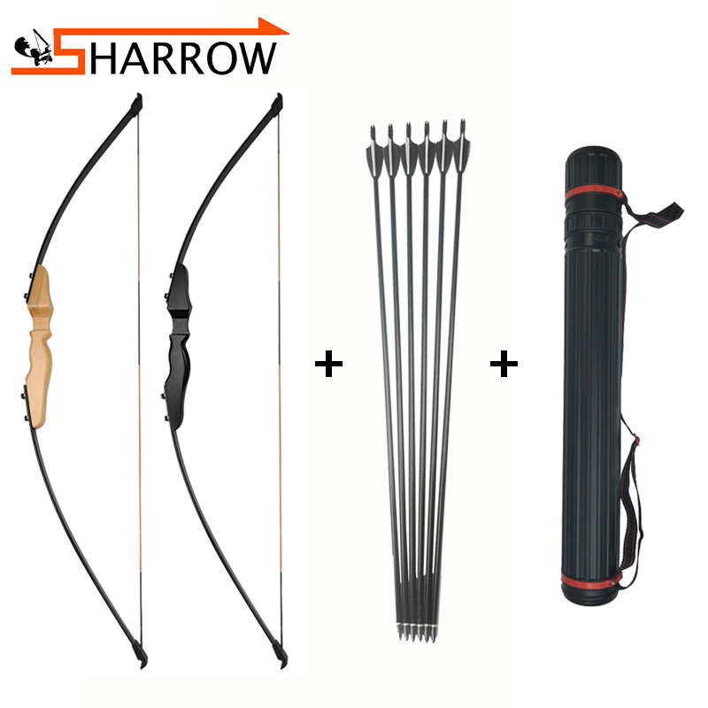 55inch 40lbs Archery Recurve Bow Set with 6pcs 500 Spine 30inch Fiberglass Arrows Quiver Stabilizer Finger