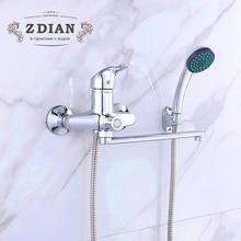Новый 1 компл.. Ванная комната смеситель для душа набор хром ванна кран смесителя Настенный Водопад ванна кран с ручной