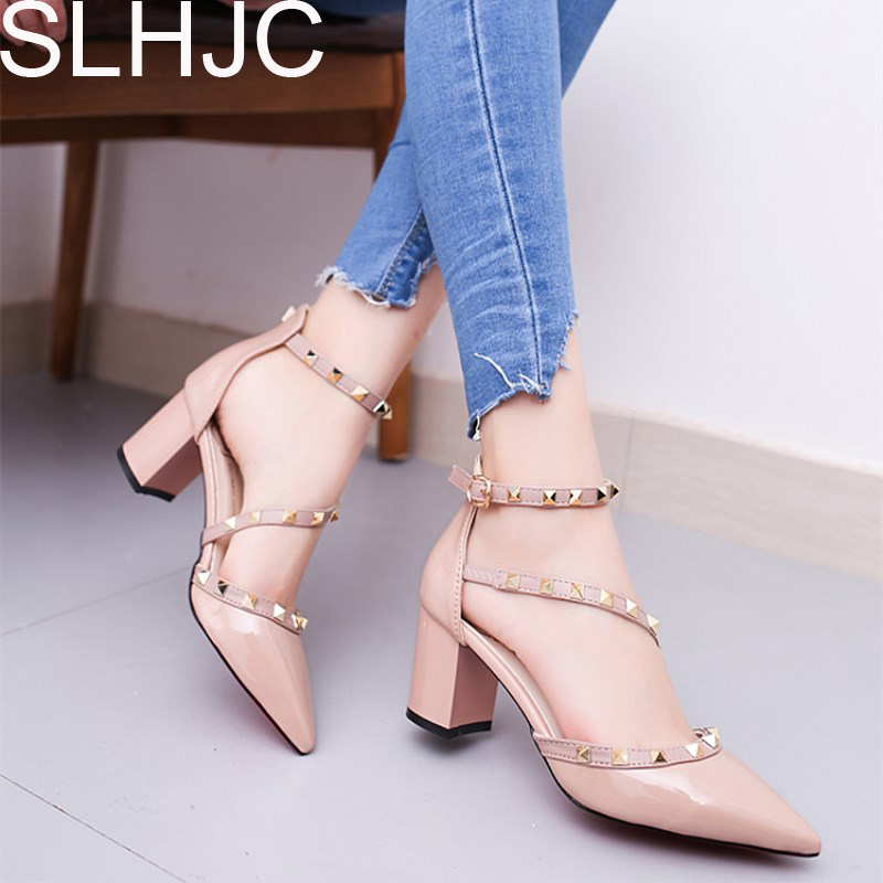 SLHJC 2018 Spring Summer Pumps Women High Heels Leather Pointy Toe Shoes With Fashion Rivet Sandals Square Heel siketu 2017 free shipping spring and autumn women shoes fashion high heels shoes wedding shoes pumps g113 summer sandals