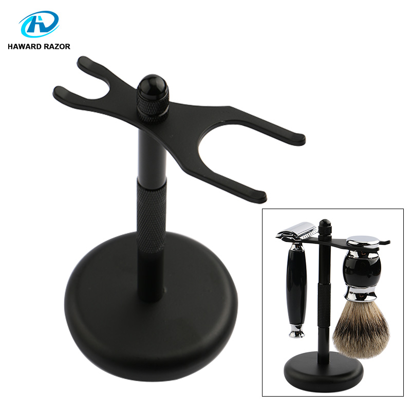 HAWARD Razor Stand Men's Safety Razor And Shaving Brush Holder Made Of High Quality Black Zinc Alloy Home Razor Accessories