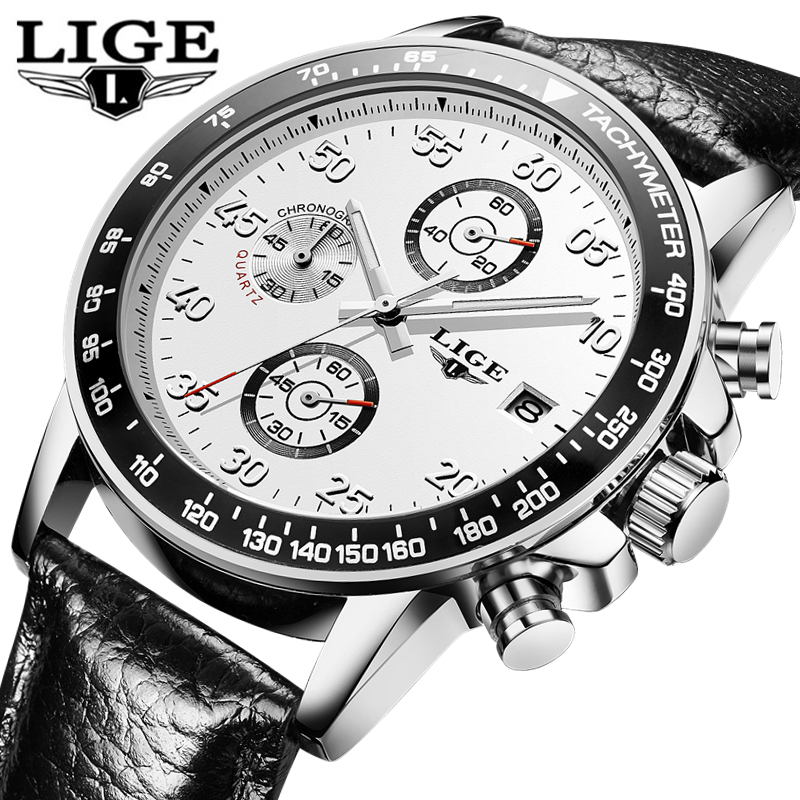 LIGE Mens Watches Top Brand Luxury Leather Strap Sport Quartz Watch Men Fashion Casual Waterproof Wristwatch Relogio Masculino multi function outdoor sport compass quartz watches men top brand casual fabric strap wristwatch high quality relogio masculino
