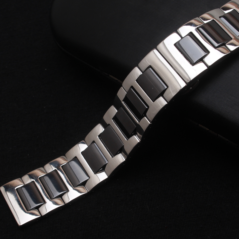Polished ceramic watchband Black watch band straps bracelets wristwatch bands accessories 16mm 18mm 20mm 22mm Fit Gear S2 S3 new watch band 24mm 26mm new men top grade black waterproof rock climbing silicone rubber watchband bands bracelets free shiping