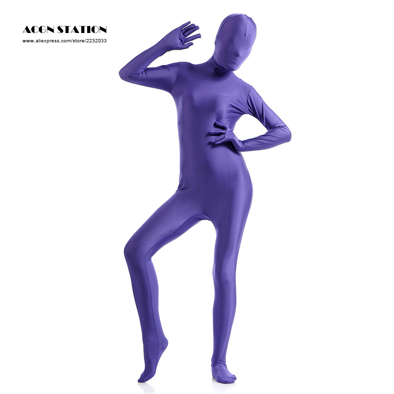 24h 2017 Deep Purple Lycra Spandex Zentai Suit for Women Halloween Jumpsuit Romper Rush order/Same day shipping/24-hour ship