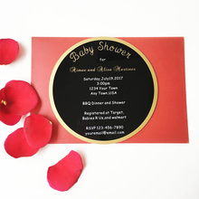 Customized 160X160mm round shape 3mm thick black acrylic baby shower invitation card