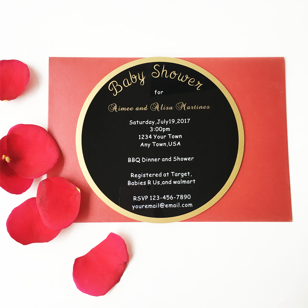 Customized 160X160mm round shape 3mm thick black acrylic baby shower ...