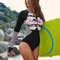 2019 neue Frauen Lange Sleeve Zipper Rashguard einteiliges print Badeanzug Bademode Surfen Rash Guard UPF50 + S-2XL