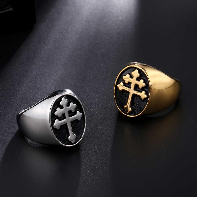 c78a52ffe1d6 ... Cadera Lorraine Cruz anillo de oro de Color plata de titanio de acero  inoxidable quid Vera ...