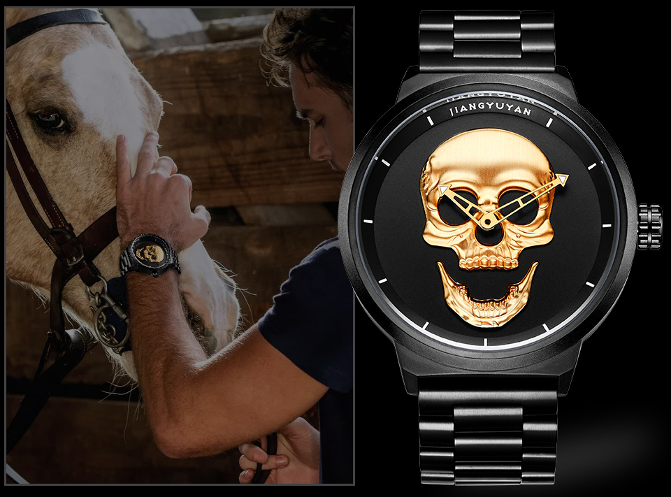 1739-960_04  2018 Scorching Pirate Punk 3D Cranium Males Watch Model Luxurious Metal Quartz Male Watches Retro Trend Gold Black Clock Relogio Masculino HTB1ij