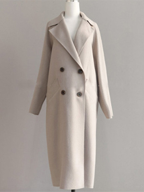Women Wide Lapel Belt Wool Blend Long Coat 3