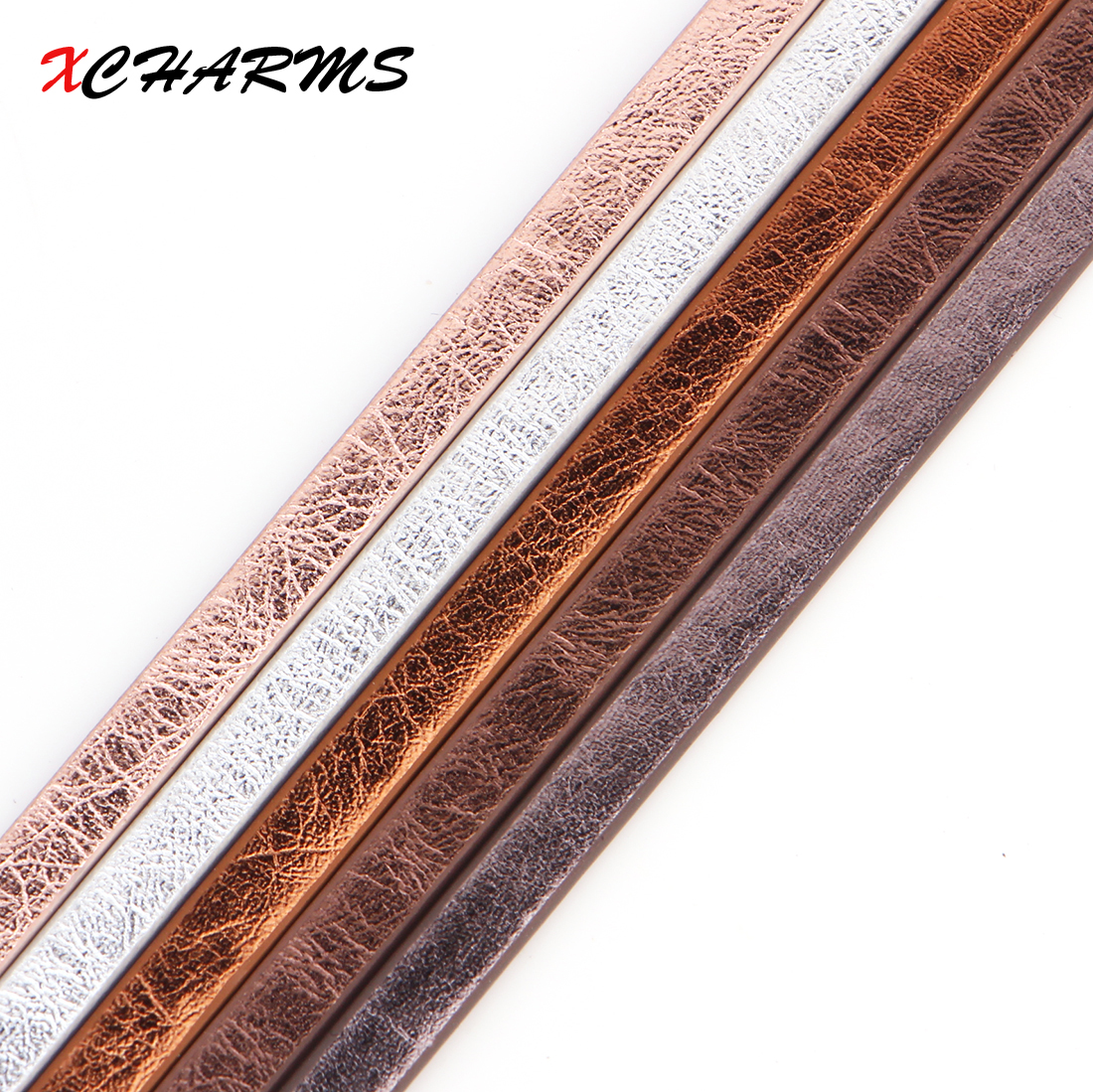 XCHARMS 5MM Flat PU Leather Cord Matt Surface Rope Jewelry Findings Accessories Fashion Jewelry Making Materials