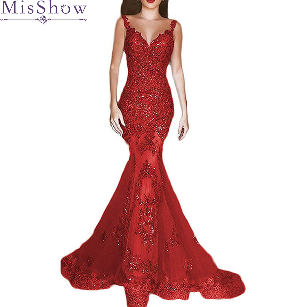 robe de soiree longue 2019 Sleeveless Mermaid Prom Dress Gown Tulle With Appliques Red Bodycon Evening