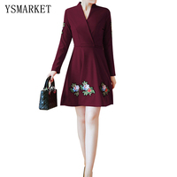 Plus Size Casual Korean Style Dress Elegant Burgundy Floral Embroidery Women Slim XXXL Party Print Mini