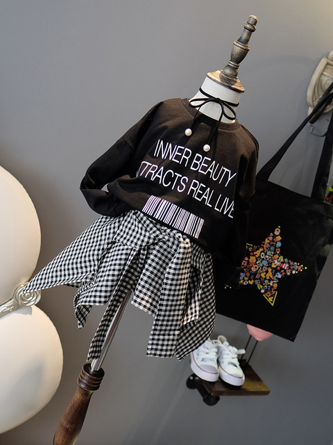 2018 New Autumn Item Girl Fake Two Pieces Long Sleeve Dress Tops & Tees
