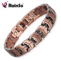 RainSo Men Magnetic Bracelets Red Copper Arthritis Therapy Health Care Bracelets Fashion Jewelry OCB 738