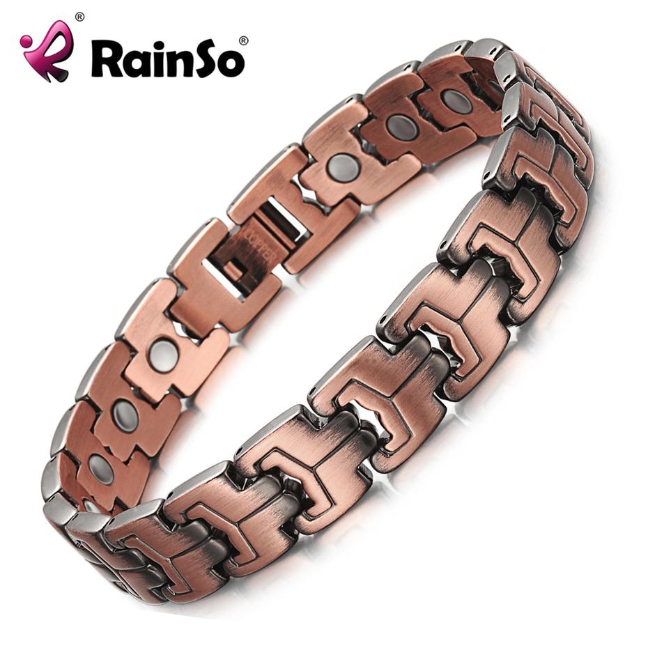 RainSo hombres pulseras magnéticas cobre rojo artritis terapia salud pulseras holograma moda joyería para hombres OCB-738