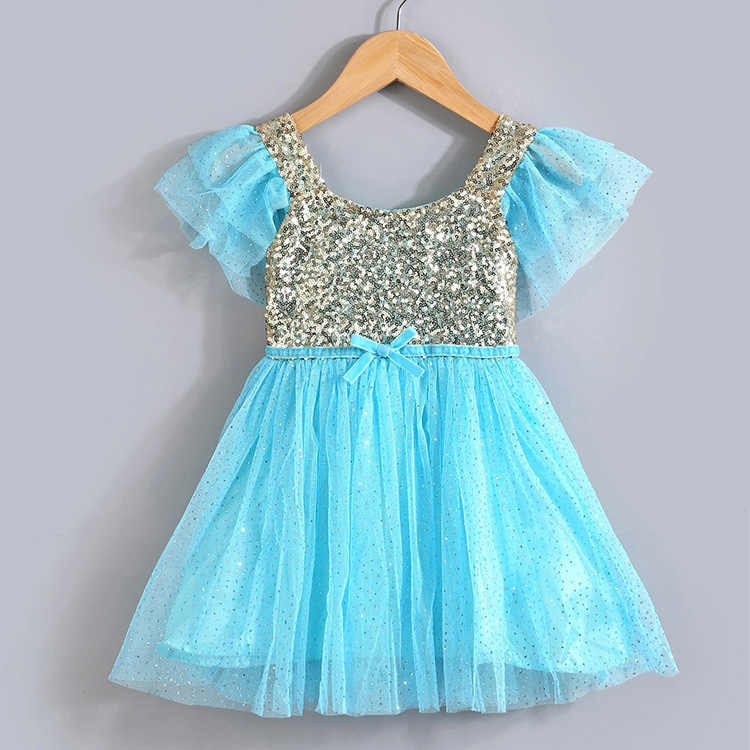 6d04bc7182129 Hot Little Girl Summer Dress Baby Gold Sequin Stitching Princess Tutu Dress  with Pink Glitter Bling Tulle Swing Kids Party Dress