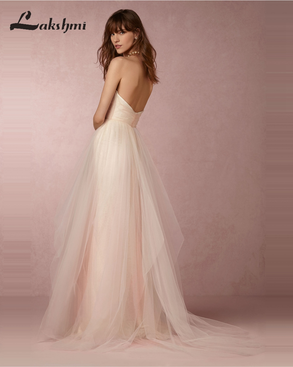 Aliexpress.com : Buy Chic Strapless Low Back Blush Wedding Dresses A ...