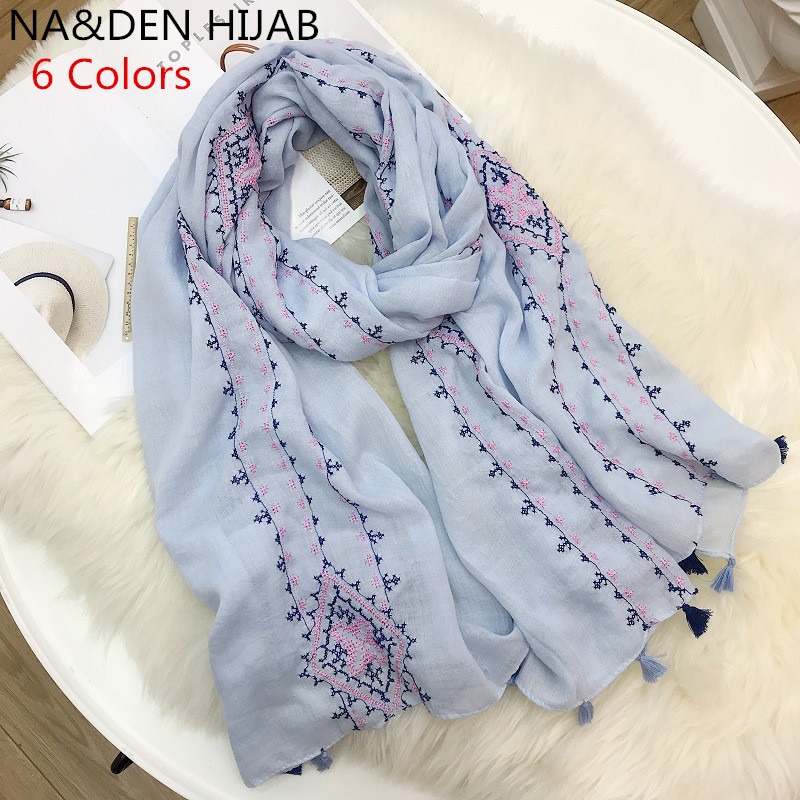 2019 women scarf embroidery Double sided muslim headband striped print shawl soft style scarf Beautiful Scarves