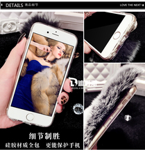 For iPhone 6S Case Rabbit Hair Fur Fox Head Bling Diamond Rhinestone TPU Case For iPhone 6 Plus 6S Plus 7 Plus 5S 5 SE Cover