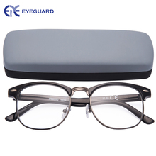 EYEGUARD Round Half Frame Metal Reading Glasses Spring Hinges Classic Readers Unisex Black with Hard Case