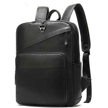 Fashion Cowide Leather British Large Capacity Men's Backpack First Layer Leather Male Shoulder Bags Black Travel Backpack