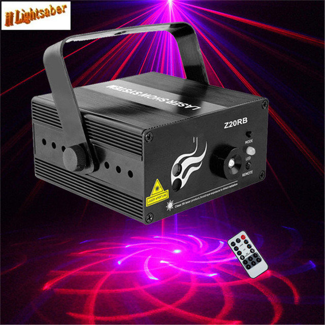 Mini 20 Patterns RB Laser Disco Light Red Blue Stage Lighting Effect DJ Bar Club Home Party Laser Projector Remote Lights