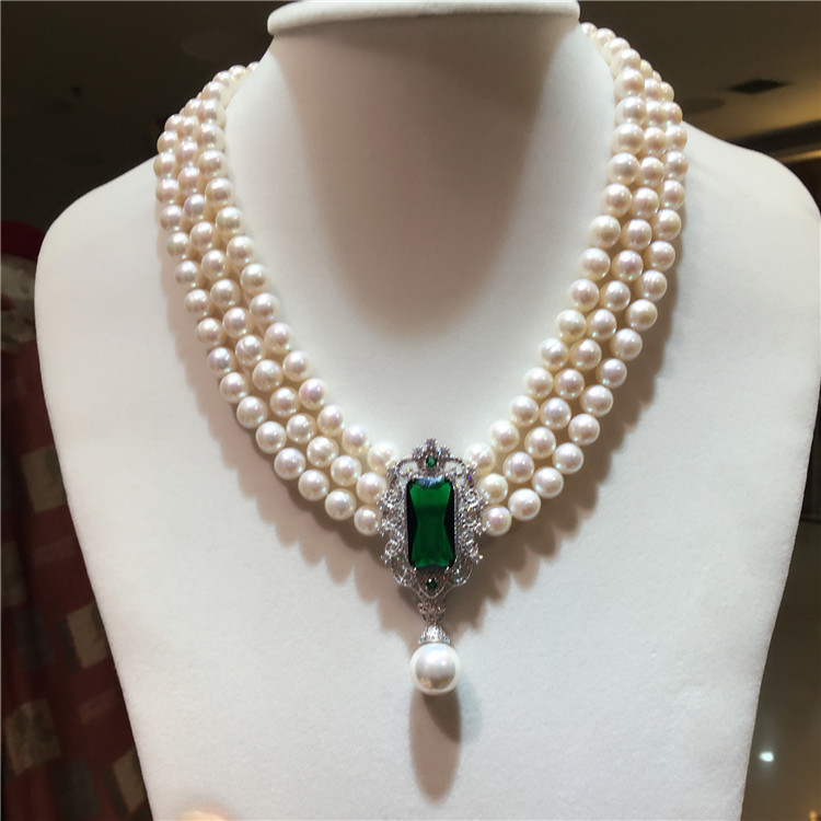 Новинка, 8-9 мм, натуральный белый пресноводный жемчуг, многослойное ожерелье, циркониевые аксессуары, модное ювелирное изделие