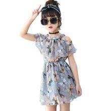 983f1c829 2019 Meninas de Verão Vestido de Chiffon Elegante Boho Vestidos Infantis  Roupa Dos Miúdos Do Bebê