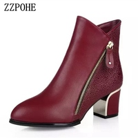 ZZPOHE 2017 Women Fashion Boots Ladies Leather Thick Pointed Toe High Heels Ankle Boots Female Autumn