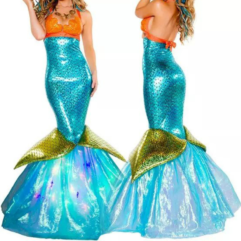 2018 New Sexy Mermaid Tail Costume Adult Blue Halloween Mermaid Cosplay For Fairy Tale Game Role Palying Uniforms Masquerade image