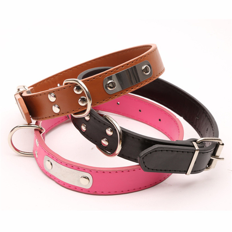 New Nylon Dog Collar Lettering Iron Plate Four Nail Collar for Small Size Dog Pets Accessories Pet Supplies (black,pink,brown) ...