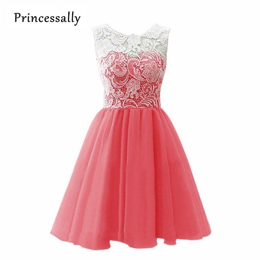 Vestidos de encaje color coral cortos – Hermosos vestidos