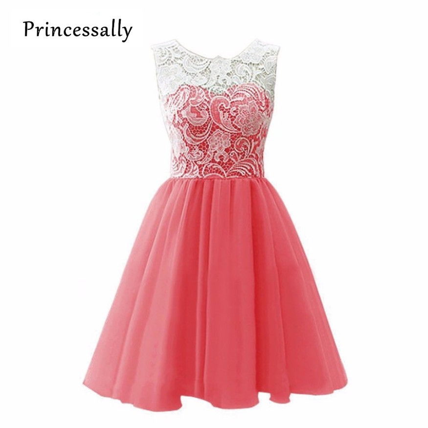 Robe De Soriee Coral Colored Wedding Party Dresses Knee Length Lace Top Cheap Graduation Dress