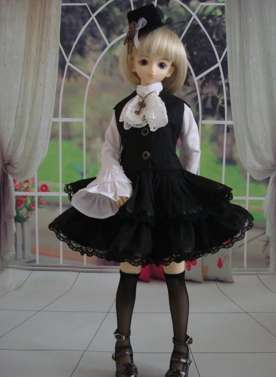 1//6 BJD Dress YOSD Maid Dress set Dollfie AOD Pullip Clothing dress Lolita skirt