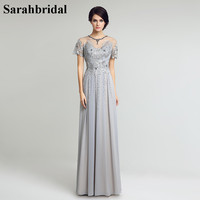2017 Elegant Gray Floor Length Chiffon Mother of the Bride Dresses Vestido De Festa With Appliques Cystal Beading Sequins LX225