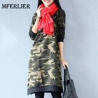 Mferlier Mori Girl Autumn Camouflage Print Dresses O Neck Loose Casual Dress Elastic Long Sleeve Split