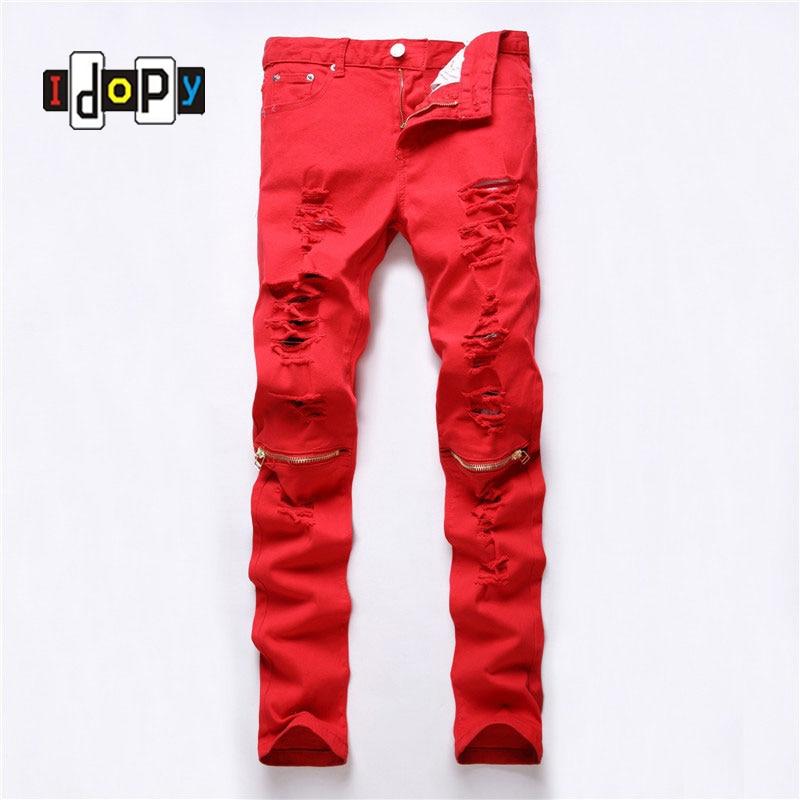 2018 новые рваные Для мужчин S Джинсы для женщин до колена на молнии хип-хоп Эластичность Карандаш обтягивающие джинсы Для мужчин модные ночно... ...