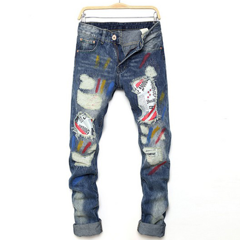 Patchwork mens jeans personality printed jeans hole jeans slim fit straight pants jeans men