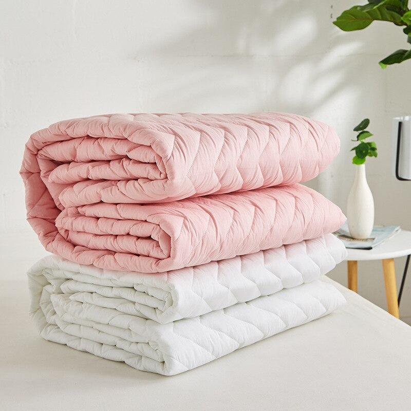 Drap-housse matelassé en trois dimensions, feuille de poche en coton blanc, plis, décoloration, couvre-matelas résistant aux taches et pinces