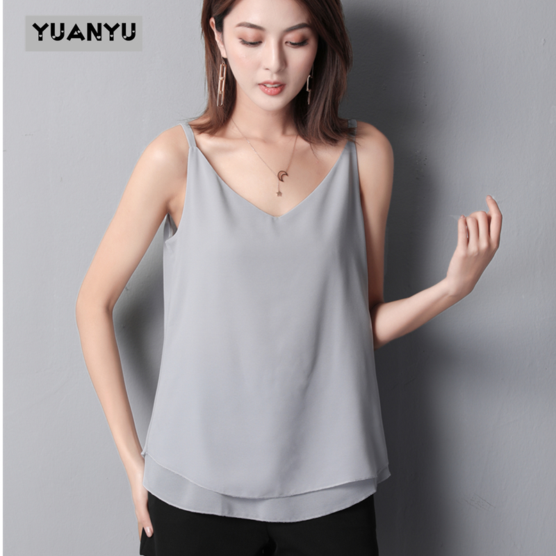 Spring Summe Women's Shirt 2020 New Arrival Sleeveless Candy Colors Chiffon Blouse For Women Long Tops Summer Fashion Clothes