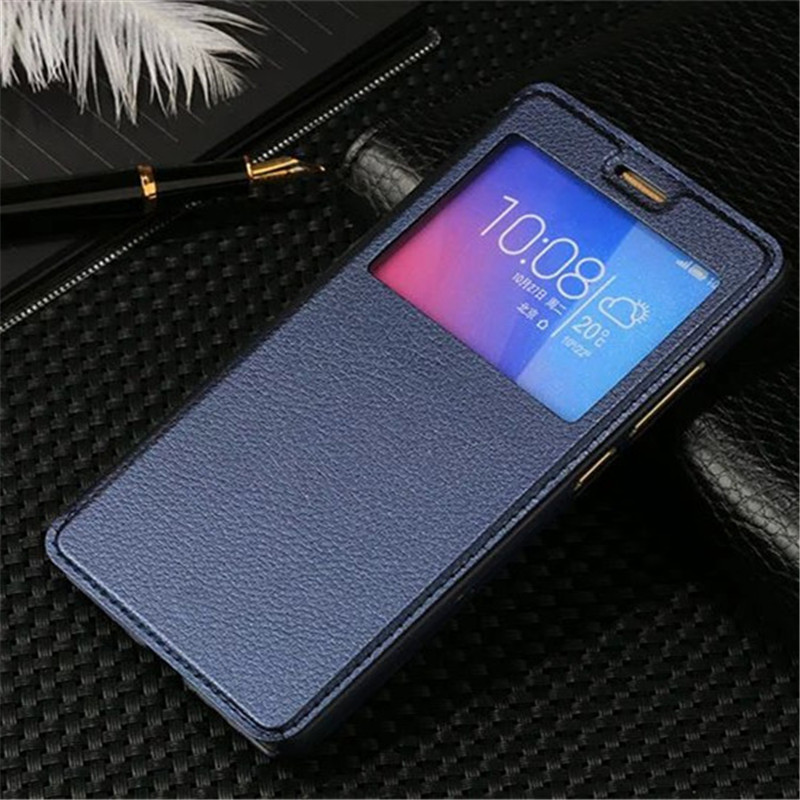 Galleria fotografica Luxury <font><b>View</b></font> Windows Leather Case For Huawei <font><b>Honor</b></font> 5X X5 GR5 2016 Flip Cover Stand Sleep Wake Up Function
