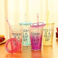 Smoothie Plastic Drink Cup Iced Coffee Juice With Straw Liquid Beaker Lid Home