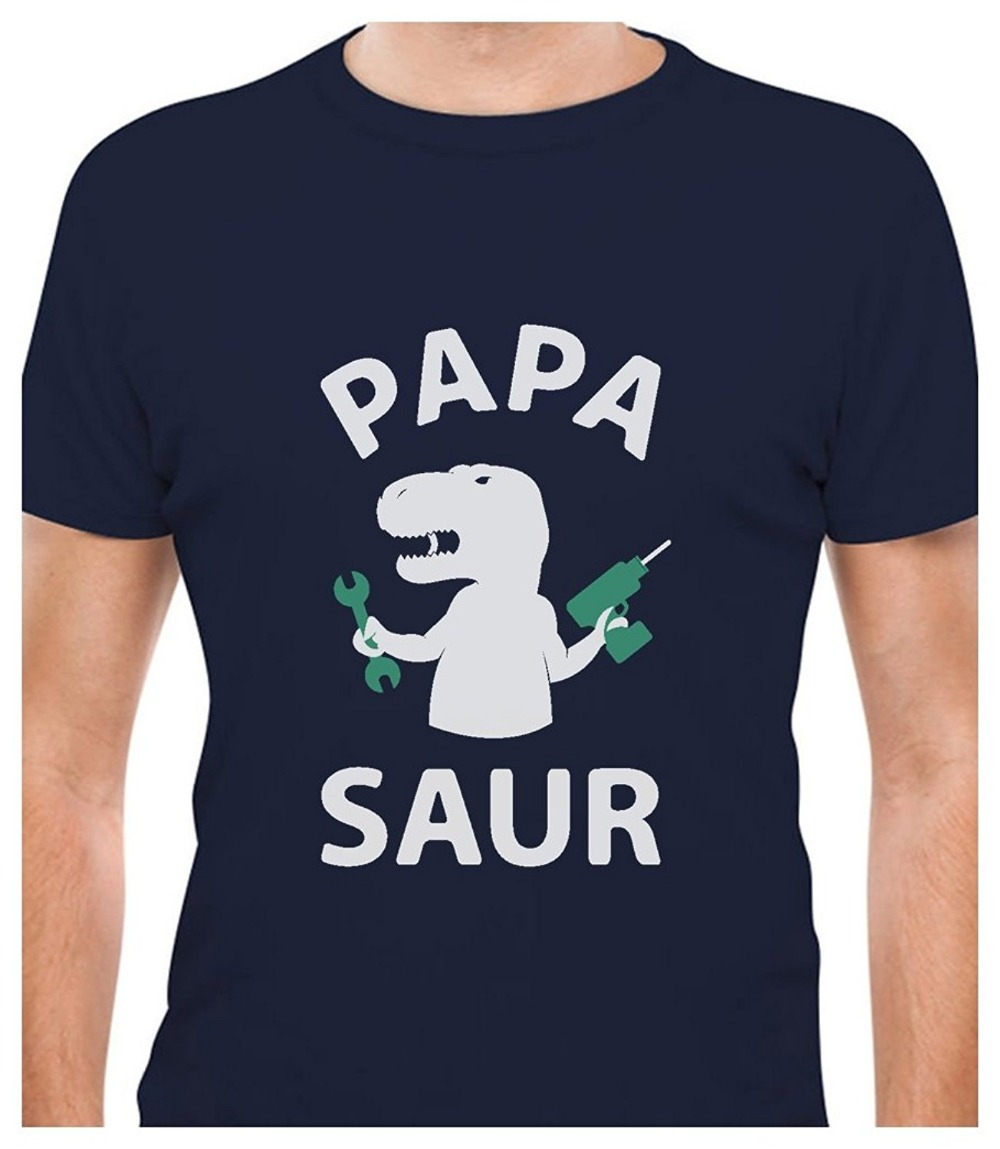 Papa - Saur - Funny T-REX Dad Fathers Day Gift for Father / Grandpa T-Shirt Cotton Tee Shirts Short-sleeve Designer shirts