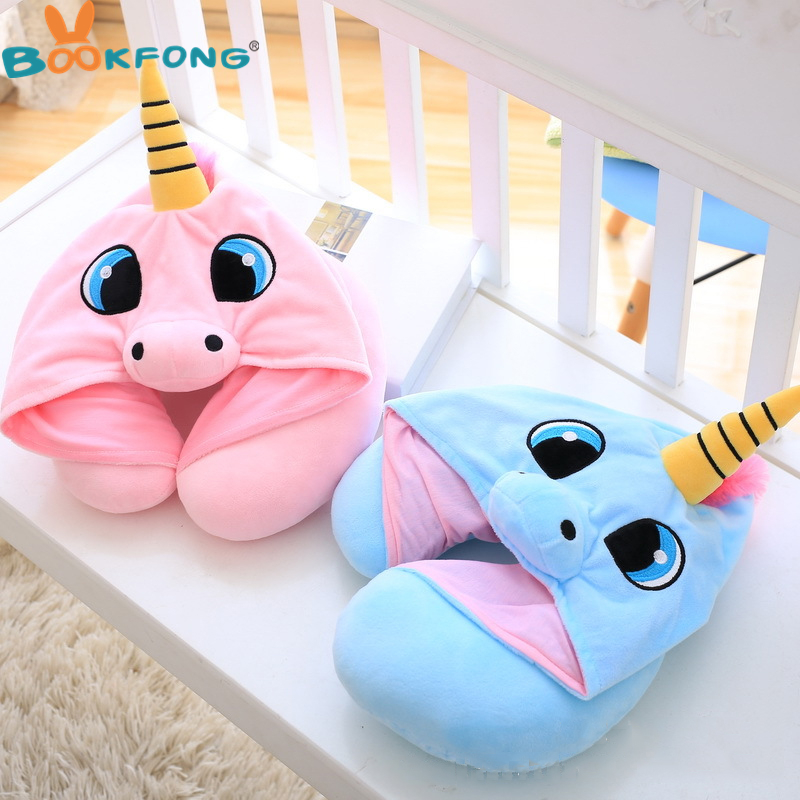 цена Cartoon Unicorn Plush Toy Soft Stuffed Animal Cushion Travel Pillow Car Airplane Soft Nursing Cushion with Hat Plush Toys